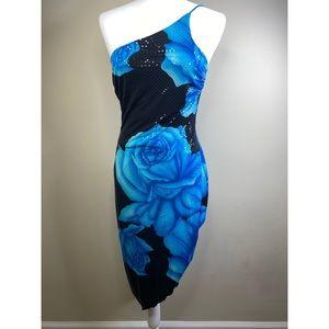 Vintage Cache asymmetrical blue rose dress
